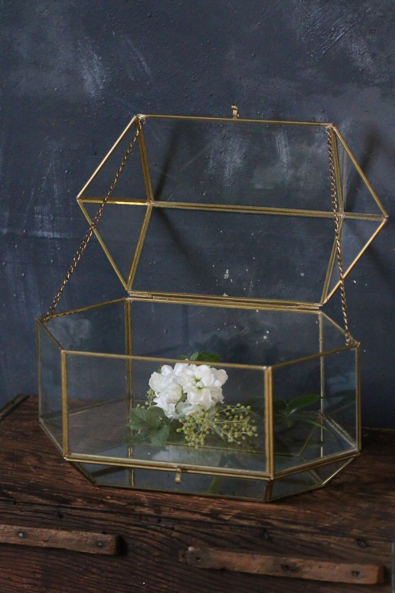 Gold And Glass Wedding Card Box Allium Floral Design