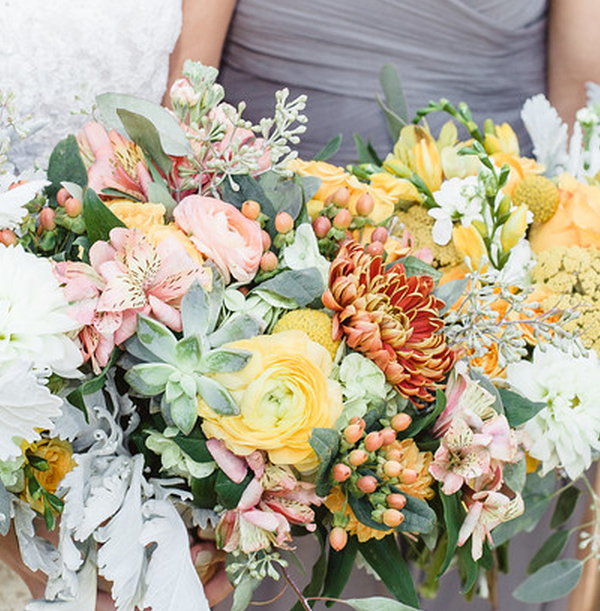 Vibrant Yellow and Peach Wedding