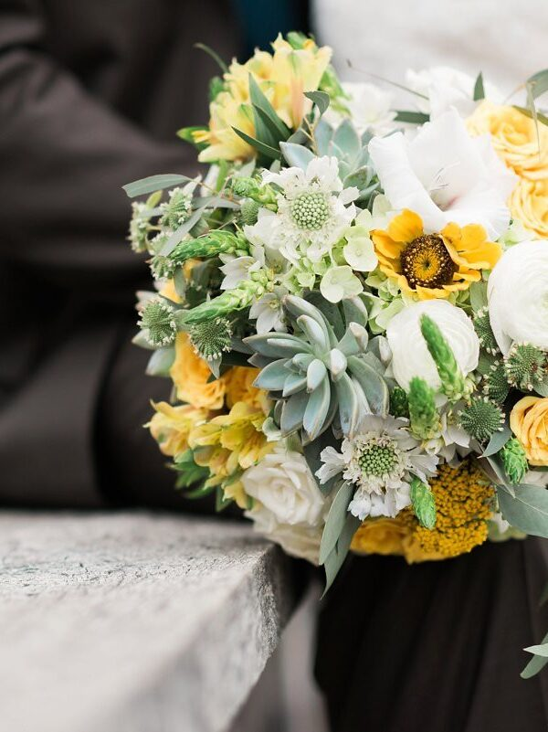 Romantic Yellow and Gray Wedding