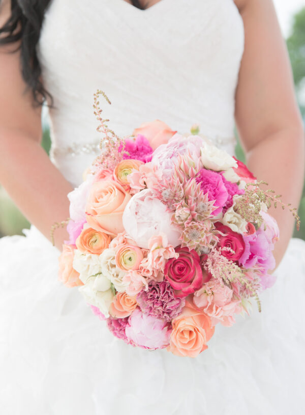 Peach Pink and Fuchsia Wedding Bouquet