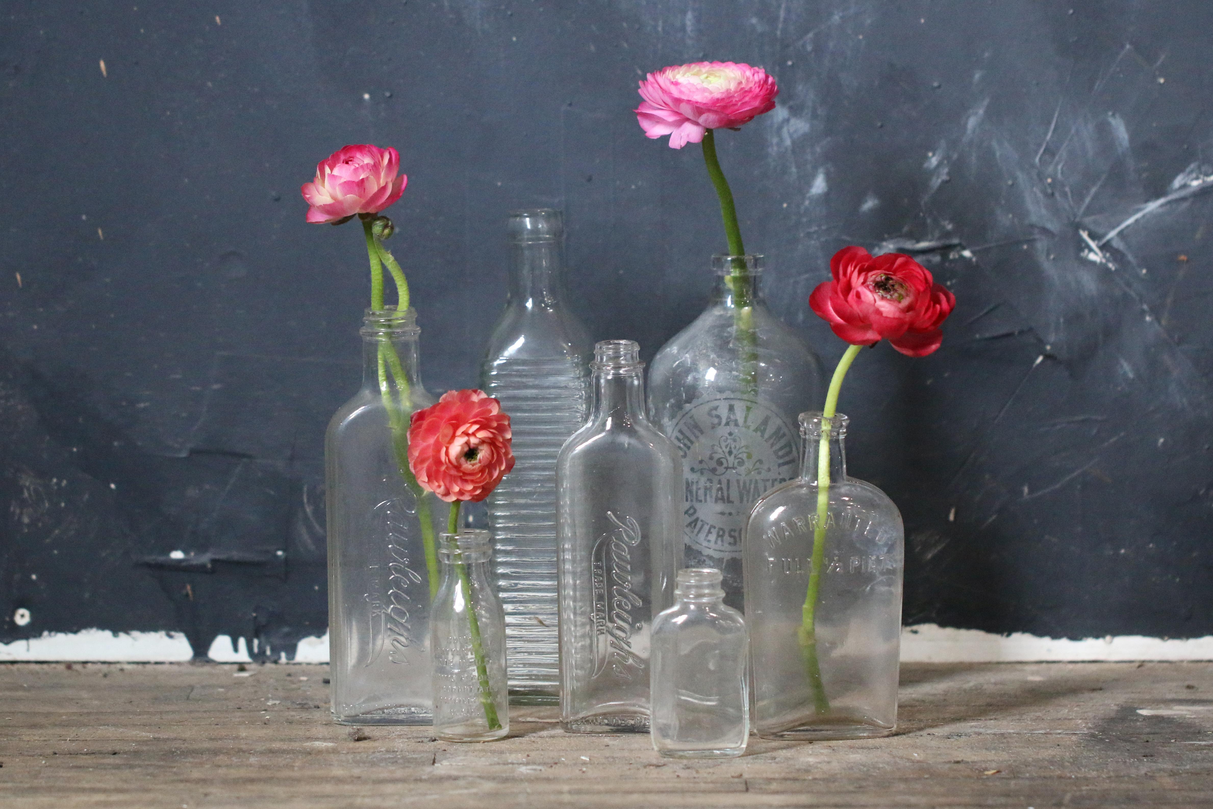 Vintage Clear Glass Bottles Allium Floral Design