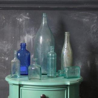 Colorful Blue Glass Vintage Bottles