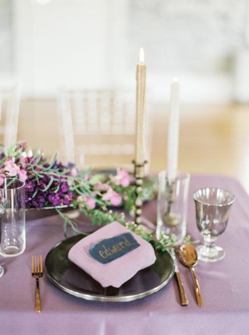 Lavendar, Gold, Navy, Elegant Table Display