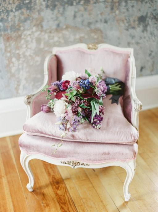 Lavendar, Plum, Navy, Bridal Bouquet on Antique Lavendar Chair