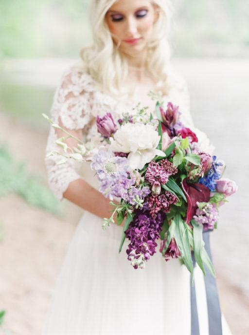 Lavendar, Plum, Navy Bridal Bouquet and Bride