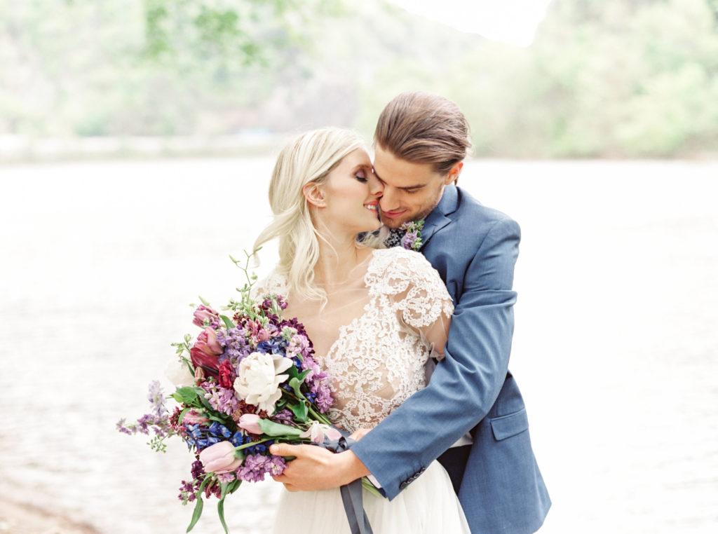 Lavendar, Plum, Navy Bridal Bouquet and Couple