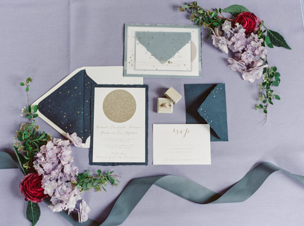Lavendar and Navy stationary shot