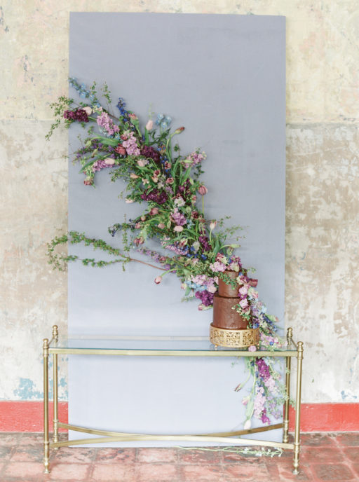 Lavendar, Plum, Navy, Cascading wall swag with cake
