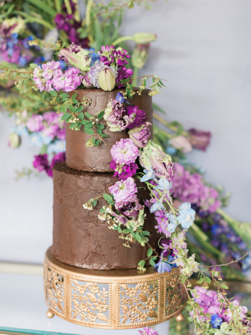 Chocolate Cake with Lavendar cascading florals
