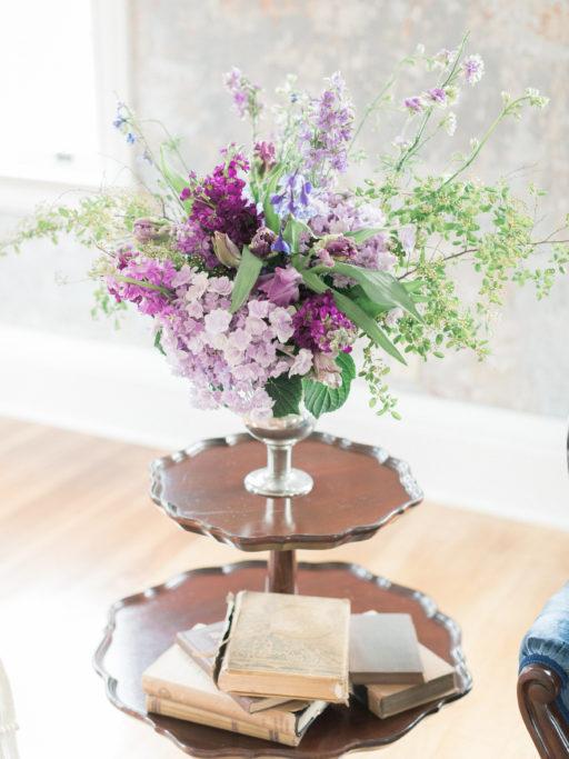 Lavendar, Plum, Greenery Arrangement with Antique end table