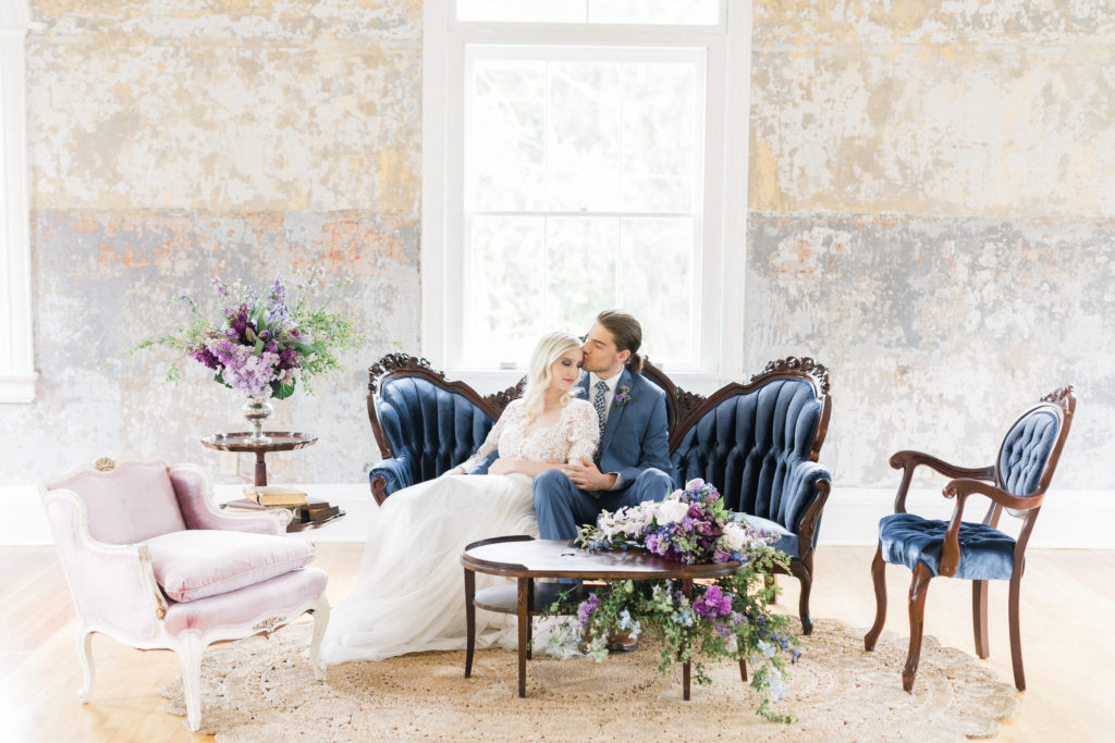 Lavendar, Plum, Navy Bridal Bouquet and Bride and Groom and Antique Sofa