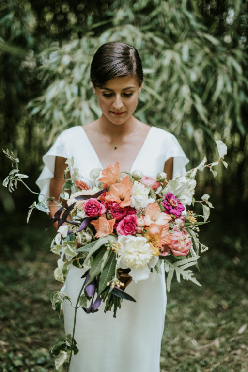 Pink, Coral, Greenery, Organic Bridal Bouquet