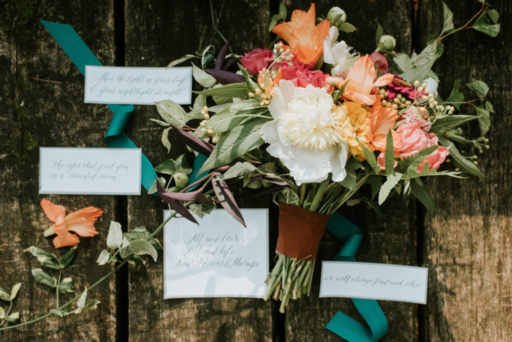 Pink, Coral, Greenery Bouquet with Teal Accent