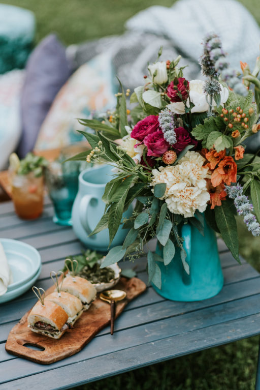Picnic Style Colorful Arrangement in Teal Pitcher