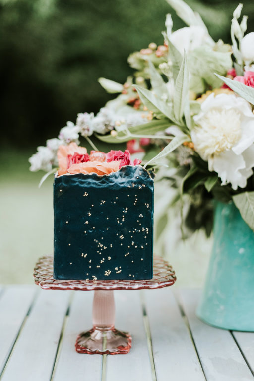 Blue Cake with Pink Florals