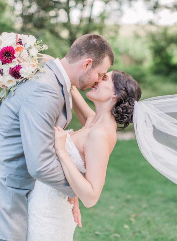 White burgundy blush green bride and groom