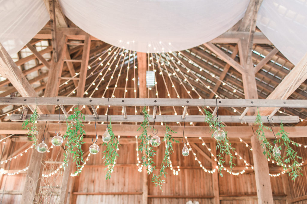 greenery hanging and glass bulbs
