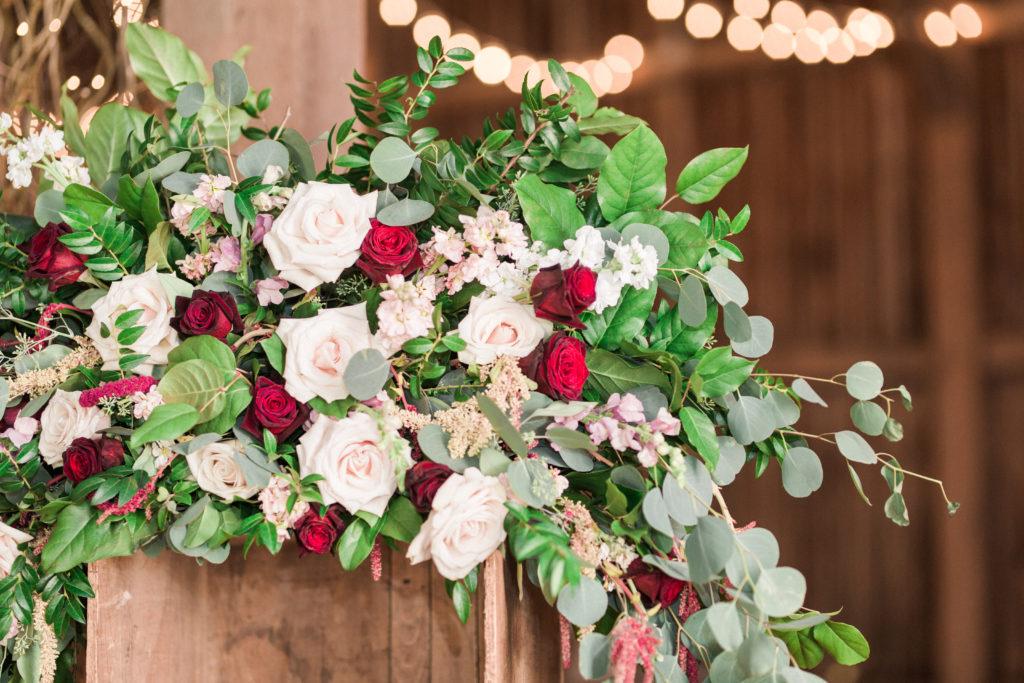White burgundy blush green elegant