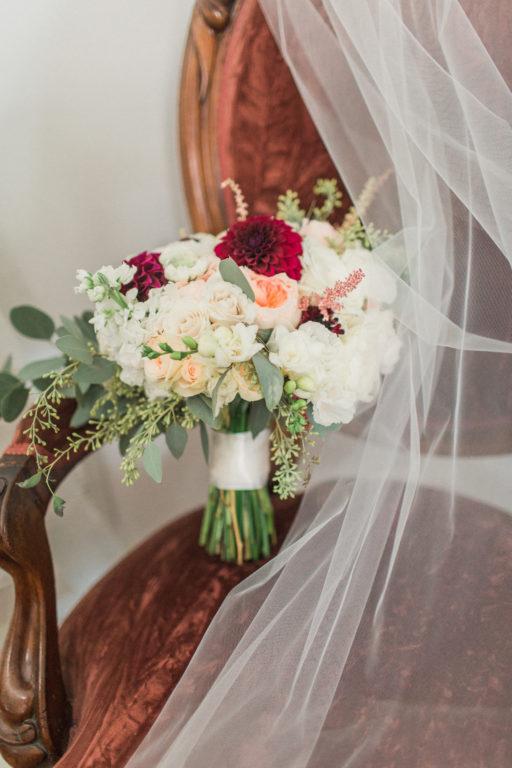 White burgundy green blush elegant bridal