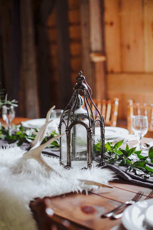 medieval purple stone wedding centerpiece