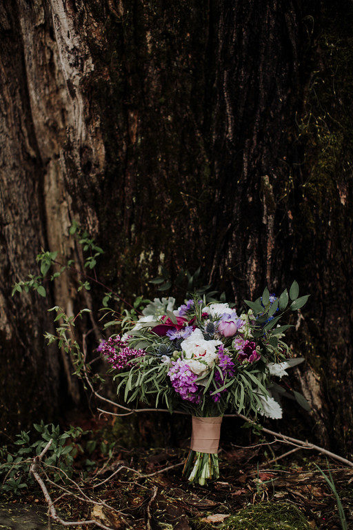 Medieval stone purple wedding bridal bouquet
