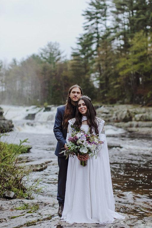 Medieval purple stone bride and groom