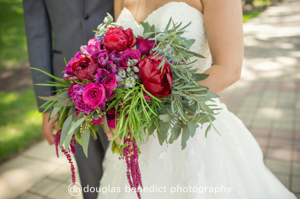 pink and green organic bridal bouquet