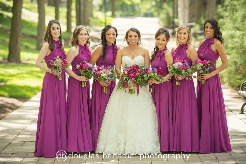 purple, pink, green bride and bridesmaids