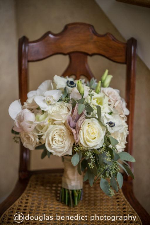 white rose, anemone, eucolyptus bridal bouquet