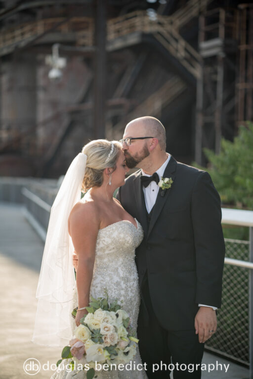 Industrial and white bride and groom