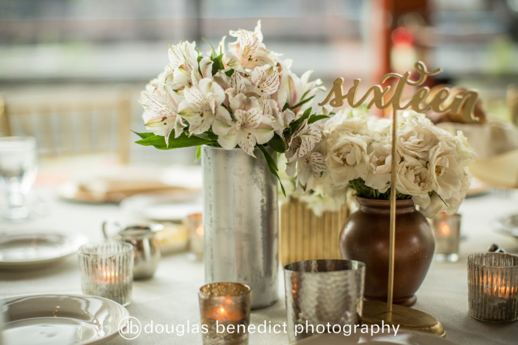 mixed metal and white floral centerpiece