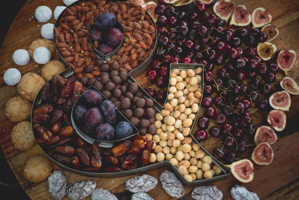Dinner in a creek fruits and nuts plate