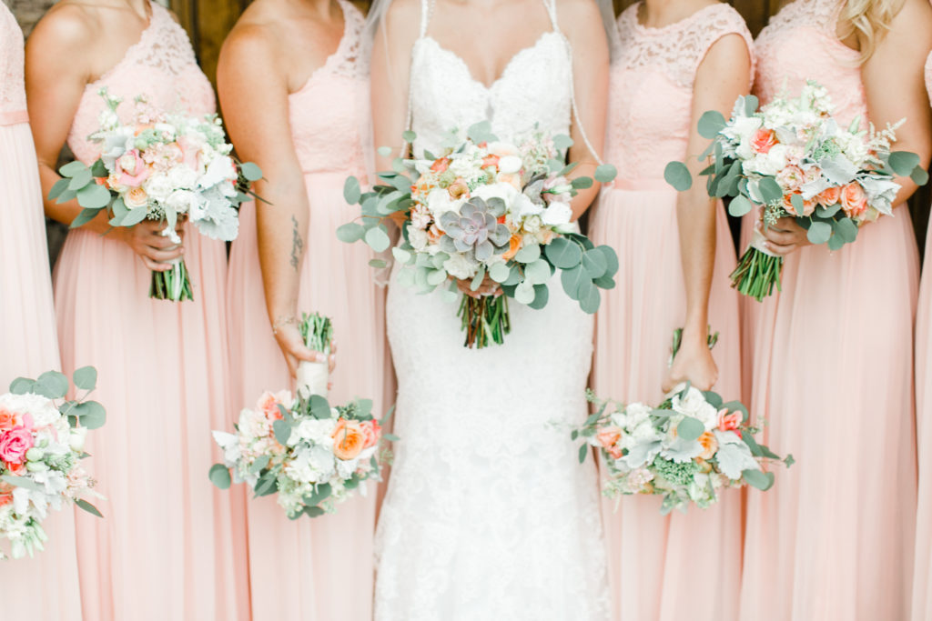 blush pink, coral, sage green, winery wedding