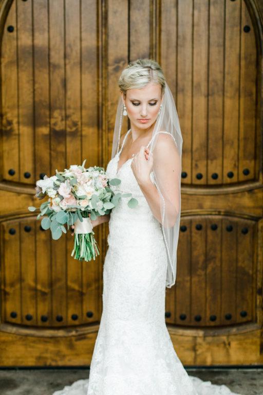 blush pink, coral, sage green, winery wedding bride