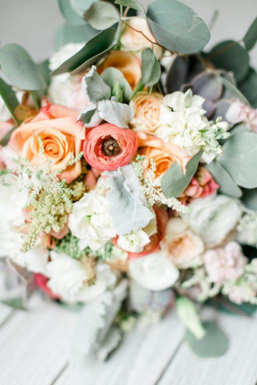 blush pink, coral, sage green, winery wedding bouquet