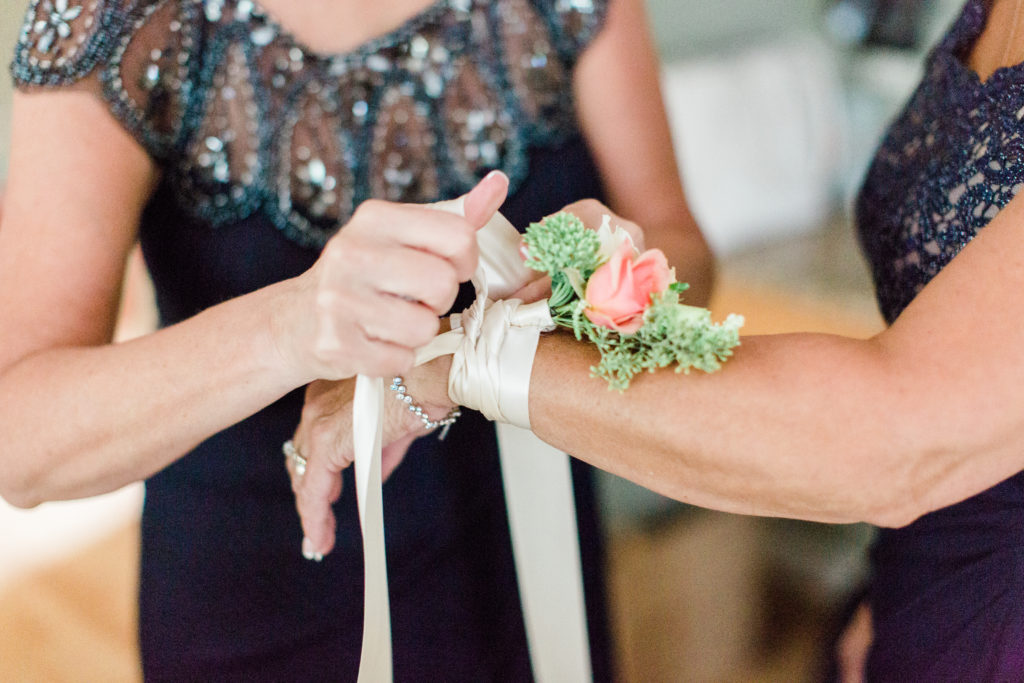 blush pink, coral, sage green, winery wedding corsage