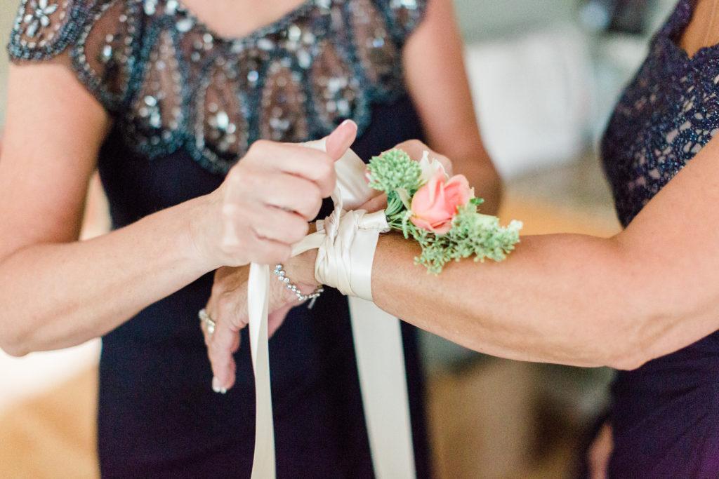 blush pink, coral, sage green, winery wedding corsage