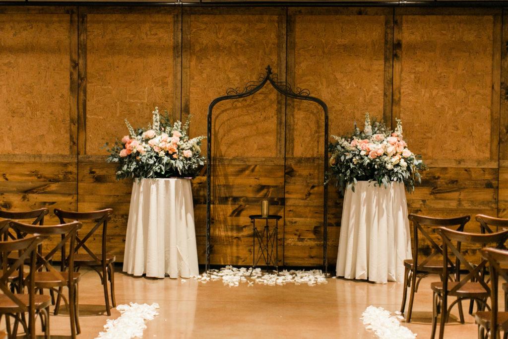 blush pink, coral, sage green, winery wedding iron arbor