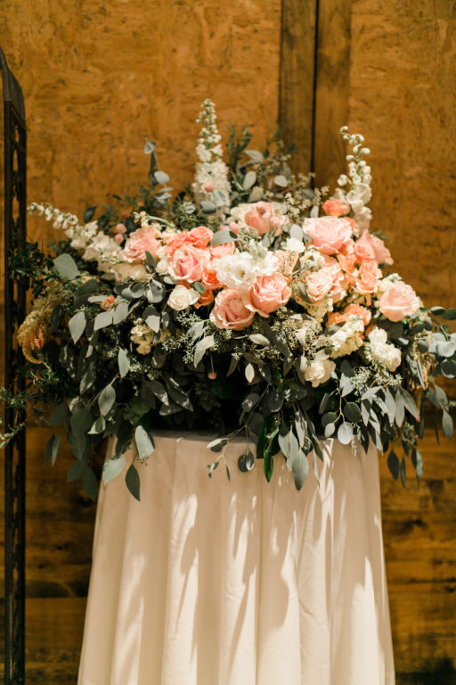 blush pink, coral, sage green, winery wedding altar piece