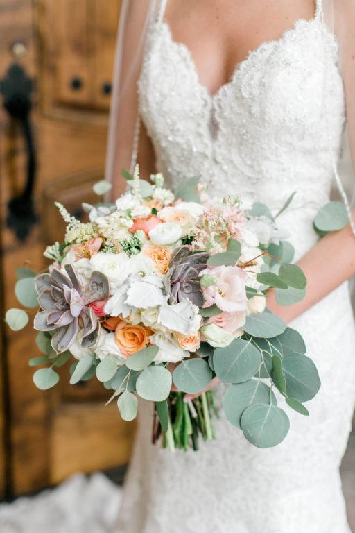 blush pink, coral, sage green, winery wedding bridal succulents