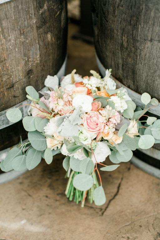 blush pink, coral, sage green, winery wedding bridal bouquet