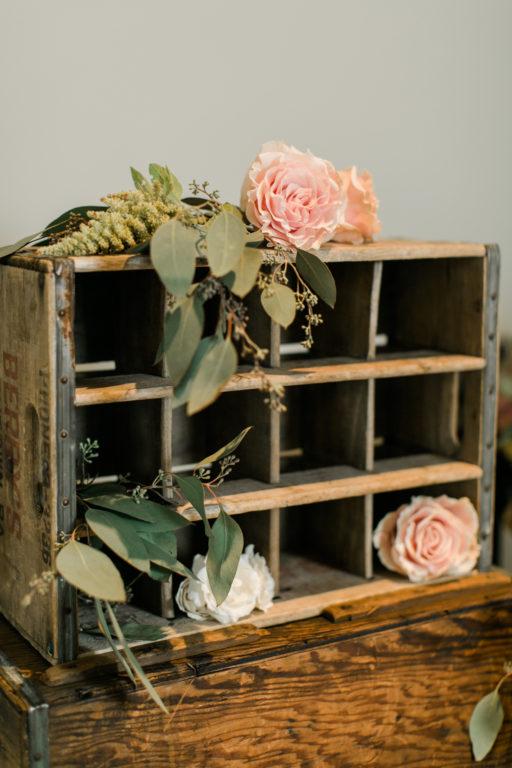 blush pink, coral, sage green, winery wedding vintage box and roses