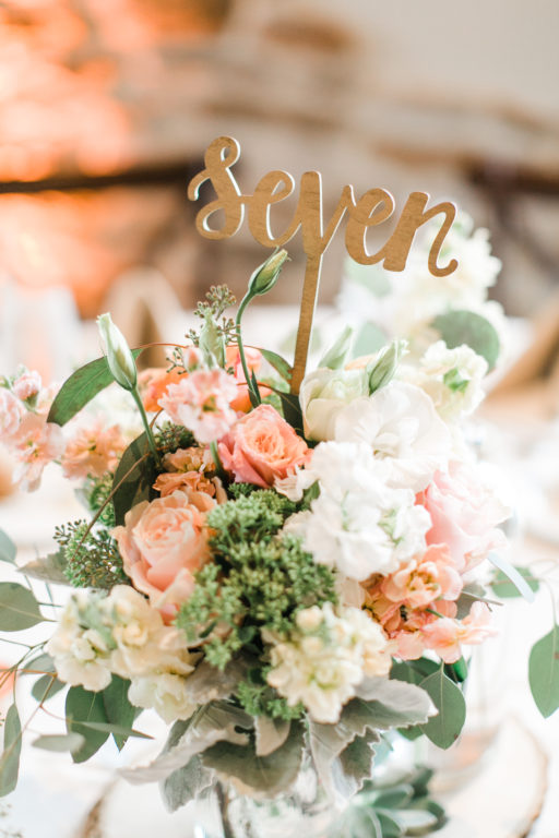 blush pink, coral, sage green, winery wedding centerpiece and script table number