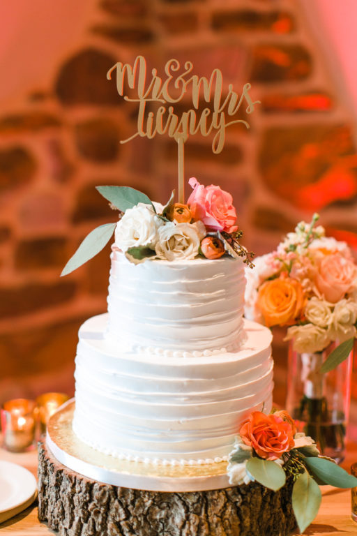 blush pink, coral, sage green, winery wedding cake