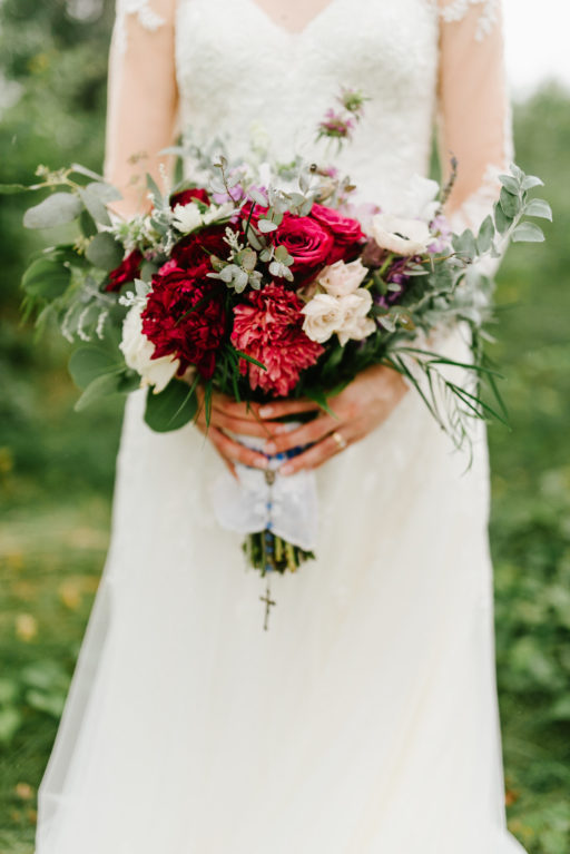 red, purple, lush greenery, stylish, wedding, lush greenery forest, bridal bouquet