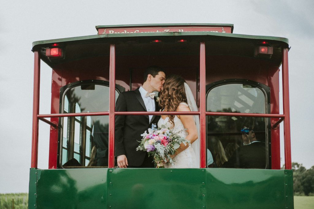 pink, blue, green, thistle, dahlia, greenery, winery wedding trolly ride