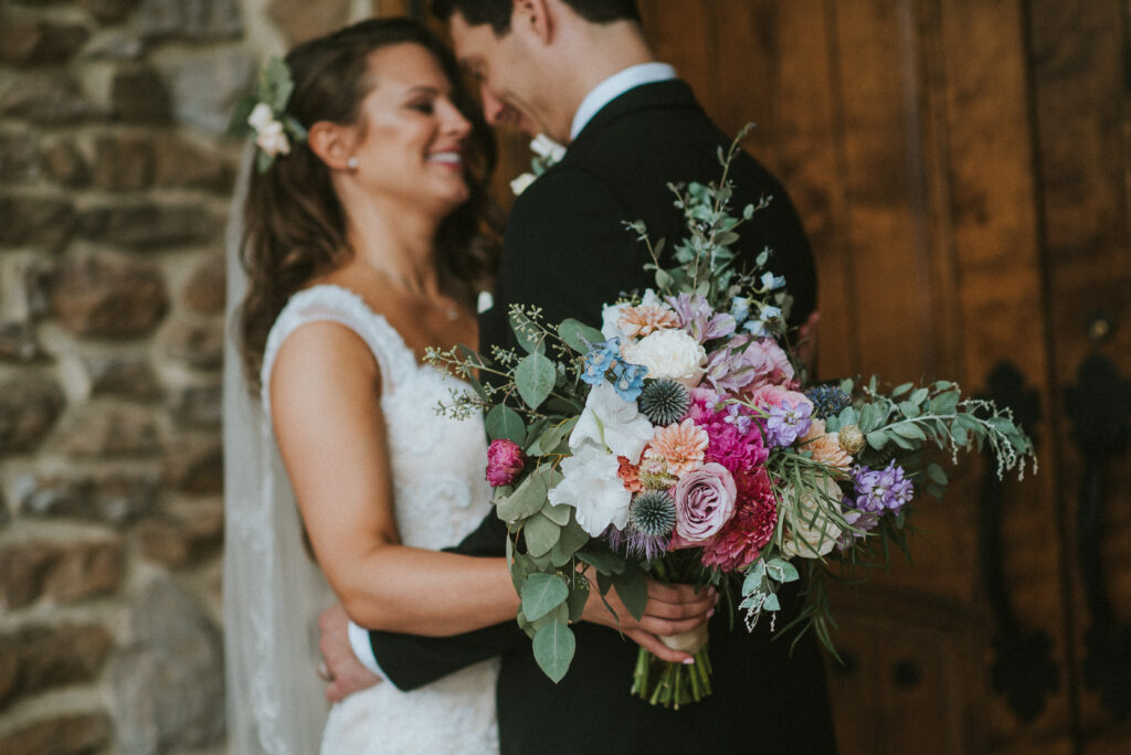 pink, blue, green, thistle, dahlia, greenery, winery wedding bridal bouquet