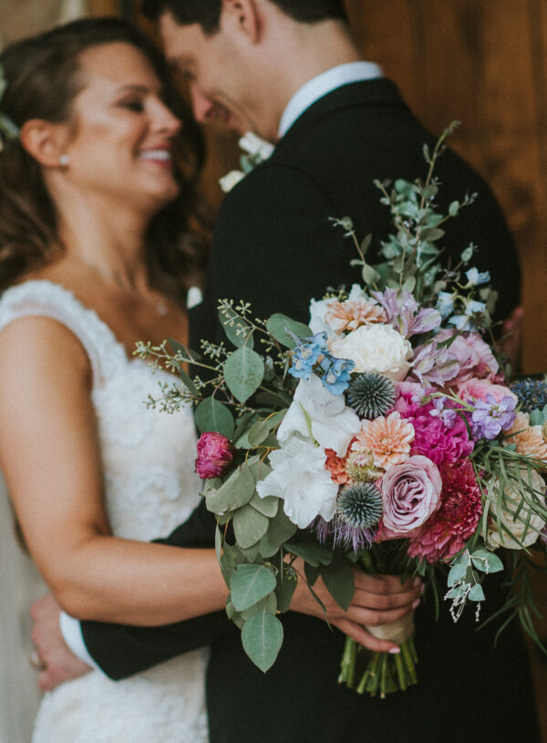 pink, blue, green, thistle, dahlia, greenery, winery wedding bridal bouquet