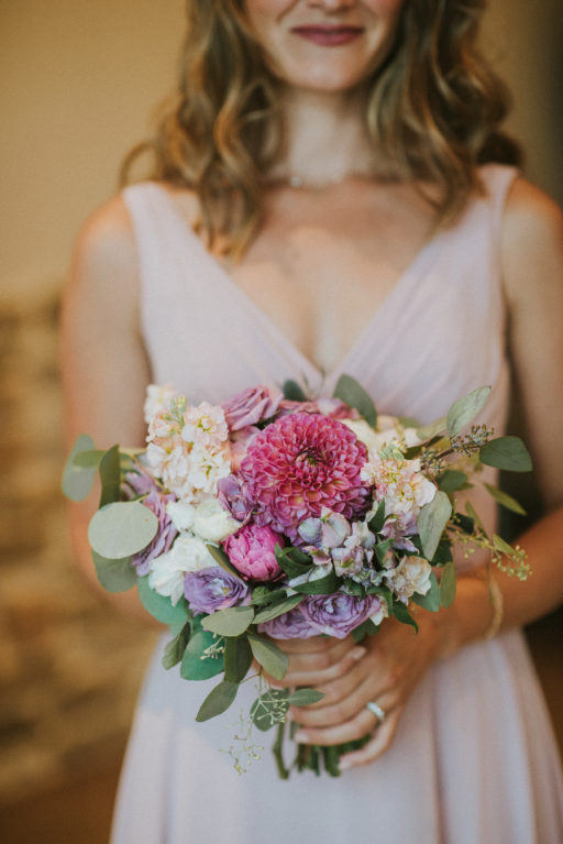 pink, blue, green, thistle, dahlia, greenery, winery wedding bridesmaid bouquet