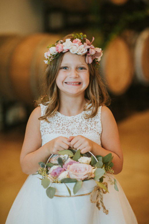 pink, blue, green, thistle, dahlia, greenery, winery wedding flower girl flower crown